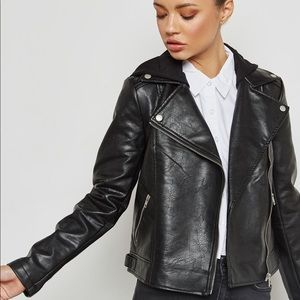 F21 Faux Leather Biker Jacket Coat, Size Small